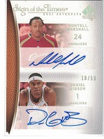 Authentic Donyell Marshall & Daniel Gibson Duel Autograph