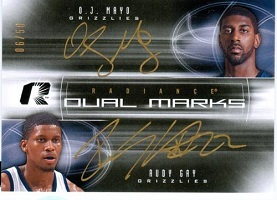 Authentic O.J. Mayo & Rudy Gay Dual Autograph Card