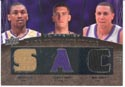 Authentic Ron Artest, Spencer Hawes & Mike Bibby Triple Game-Worn Jersey Card