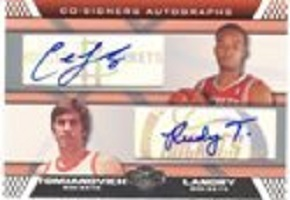 Authentic Rudy Tomjanovich & Carl Landry Dual Autograph