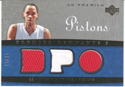 Authentic Tayshaun Prince Triple Game-Worn Jersey Card